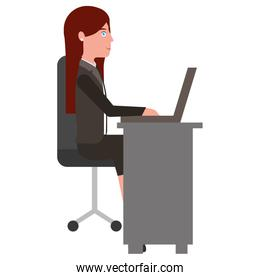 young woman in office chair and desk avatar character