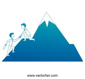 business man on mountain helping colleague or friend climbing leadership teamwork