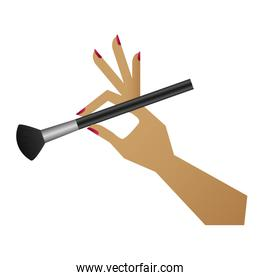 hand with makeup brush isolated icon