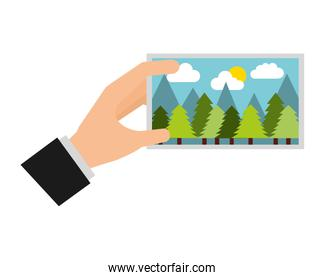 hand with picture landscape work art icon