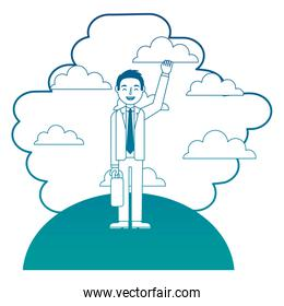 businessman standing in landscape clouds sky