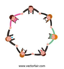 aerial view of group business people holding hands