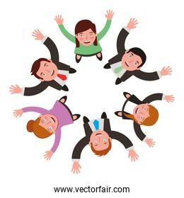 aerial view of group business people celebrating isolated icon