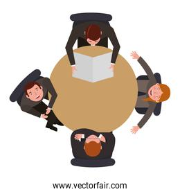 aerial view of group business people in work table