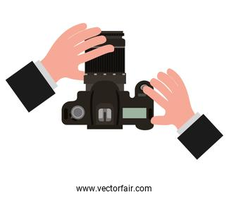 hands with camera photographic isolated icon