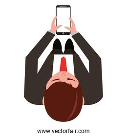 aerial view of elegant businessman with smartphone device