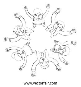 group of people business around circle from looking up success