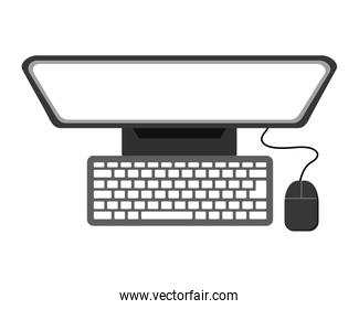 top view computer monitor keyboard mouse