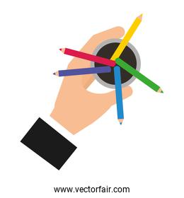 hand holding pencil color in case