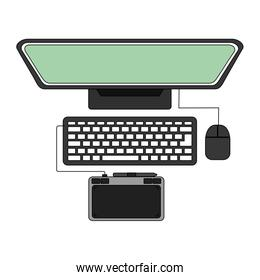 desktop computer with tablet pad device electronic