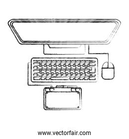 top view computer monitor drawing tablet keyboard mouse