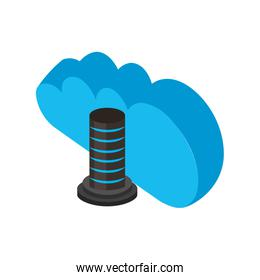 cloud computing with screw isometric icon
