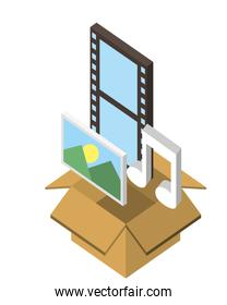 box carton with format files isometric icon