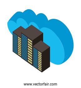 cloud computing with server towers isometric icon