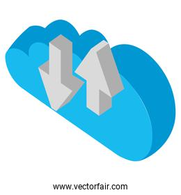 cloud computing with arrows upload and download isometric icon