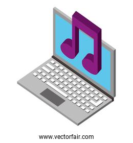 laptop computer with music note isometric icon
