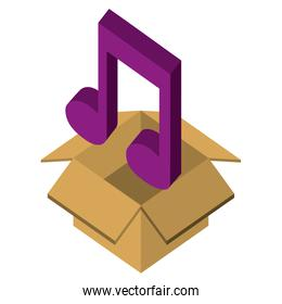 box carton with music note isometric icon