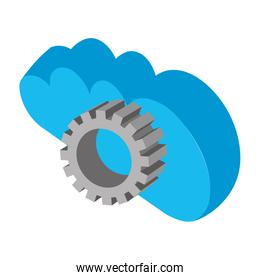 cloud computing with gear isometric icon