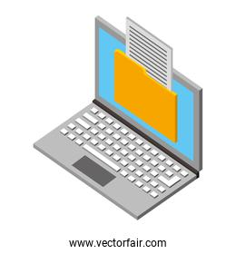 laptop computer with folder isometric icon