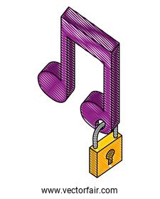 music note with padlock isometric icon