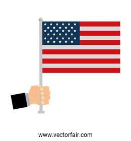 hand with united states of america flag in pole