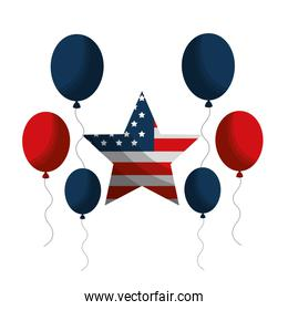 united states of america with star shape and balloons air