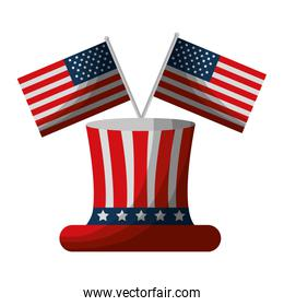 united states of america hat with crossed flags