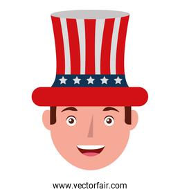 head of man with united states of america hat