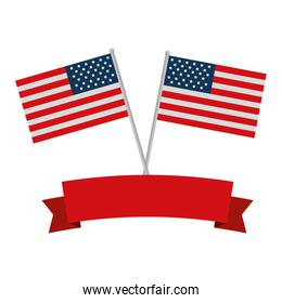united states of america flags crossed with ribbon frame