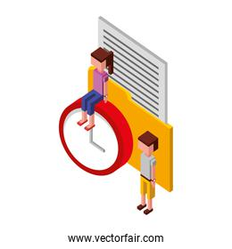 folder document with time clock and people isometric icon