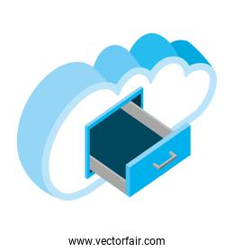 cloud computing with drawer isometric icon