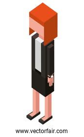 elegant businesswoman isometric icon