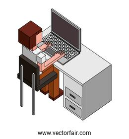 man sitting at a desk and working on the computer back view isometric