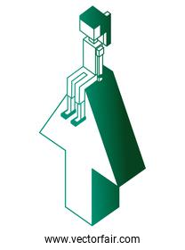 arrow up with young girl isometric icon