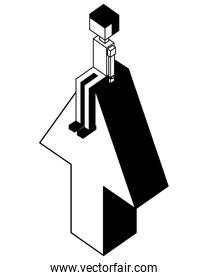 arrow up with young boy isometric icon