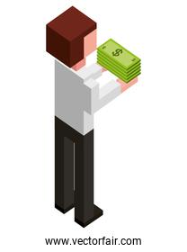 elegant businessman with pile of bill dollars in the hands isometric icon