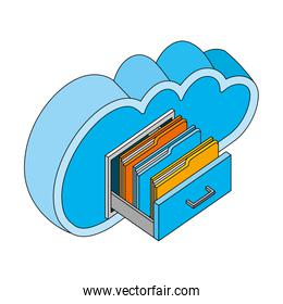 cloud computing with drawer and folders isometric icon