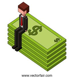 businessman sitting in pile of bill dollars isometric icon