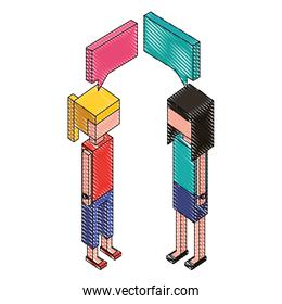 women with speech bubble isometric icon