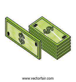 pile of bill dollars isometric icon