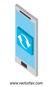 smartphone reload arrows button web isometric
