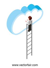 man on stairs with cloud computing uploading concept isometric