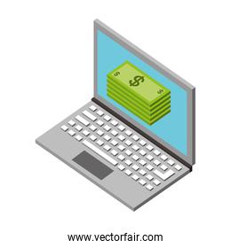 laptop stacked banknote payment money isometric