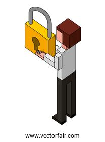 back view businessman with padlock in hands isometric
