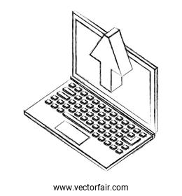 laptop computer with arrown up isometric icon