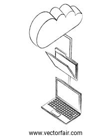 laptop computer with folder and cloud computing