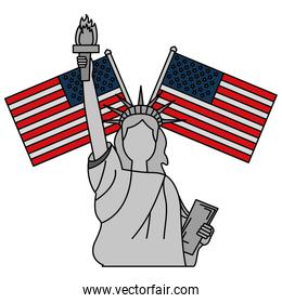liberty statue with usa flags crossed