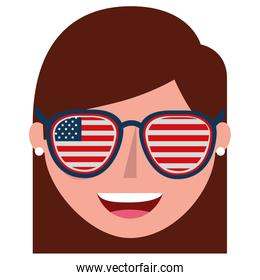 young woman with USA glasses