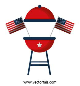 barbeque grill with USA flags