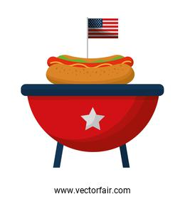 barbeque grill with USA flag and hot dog